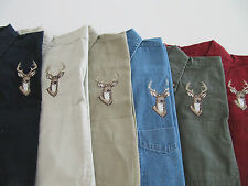 BOYS   LONG SLEEVE BUTTON SHIRT WITH EMBROIDERED DEER DESIGN  SIZES S M L XL