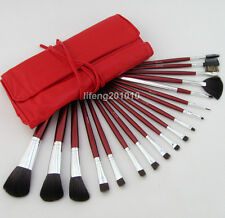 18PCS Pro hot pink make up kit makeup brushes makeup brush set with roll up bag