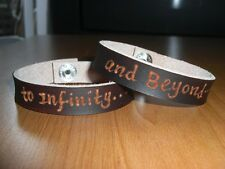 To Infinity...and Beyond...Brown genuine leather engraved bracelets unisex