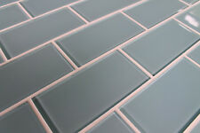 "Jasper Blue Gray 3"" x 6"" Glass Subway Tiles for Kitchen Backsplash/Bathroom"
