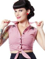 Sexy Pinup Punk Rockabilly Dixie Crop Top in Red & White Blouse, Sleeveless