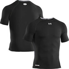 Under Armour Sonic Heatgear Short Sleeve Mens Compression Shirt - Black, White