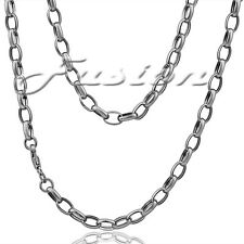 Solid Sterling 925 Silver Strong Oval Belcher Chain Necklace Anklet Bracelet