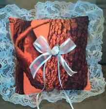 Realtree CAMO Blaze ORANGE Ring Bearer Pillow with white lace WEDDING ACCESSORY
