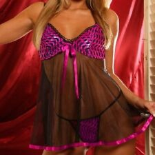 New Plus Size Cute Fuschia Black 2pc Babydoll Clothing 1X 2X 3X Lingerie 4322