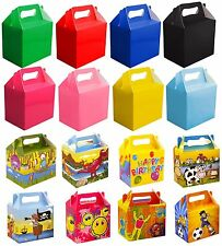 6 Party Boxes - Choose From 19 Designs & Colours - Lunch Meal Food Bag