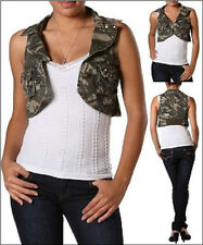 Supper Cute Vintage Studded Camo Vest Notched Collar