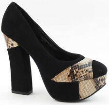 Red Circle Sexy Black Suede with Snakeskin Chunky Heels Platform Shoes