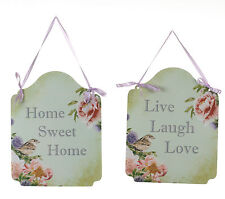 Shabby Chic Home Sweet Home Live Laugh Love Metal Vintage Style Hanging Signs