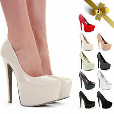 WOMENS LADIES HIGH HEEL CONCEALED PLATFORM PARTY COURT SHOES PUMPS STILETTO SIZE