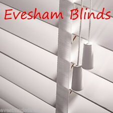 SUPERIOR MADE TO MEASURE WHITE WOOD WOODEN VENETIAN BLIND 50MM WITH TAPES