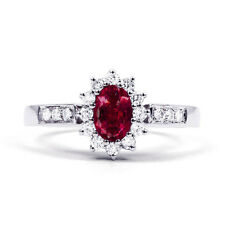 New 18 Carat White Gold Ruby and White Diamond Engagement Ring 2mm