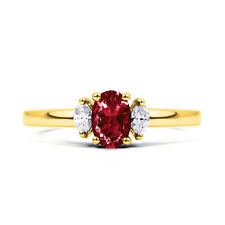 Genuine Ruby & Diamond Engagement Ring in 18K Yellow Gold - All Sizes Available