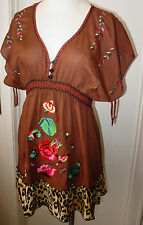 Krista Lee Leopard Group Brown V-Neck Tunic Blouse Top Embroidery Short Sleeves