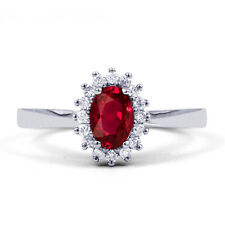 Natural 9K White Gold Ruby & Diamond Halo Engagement Ring 0.16ct 2mm