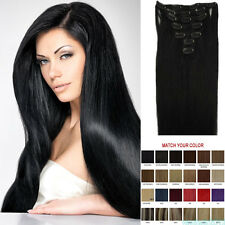 7PCS Clip in Remy Real Human Hair Extensions Straight Black Brown Blonde Hair