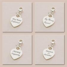 Sterling Silver Heart Charm on Lobster Clasp Personalised Engravable both sides