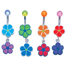 Stainless Steel Body Jewelry Belly Ring w/ FIMO Double Flower Design Mix Colors