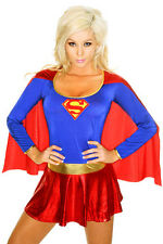 Ladies Sexy Super Woman Girl Hero Fancy Dress Fun Party Hen Costume Outfit