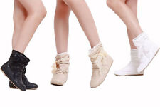 Women's Ankle Boots Flat Heel Lace Bowknot Shoes Synthetic US All Size Y611