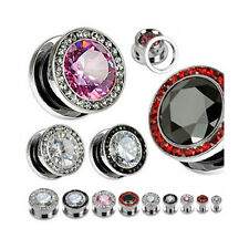 Pair Steel Large CZ Gem Crystal Rim Screw Fit Ear Plugs Tunnels Earlets Gauges