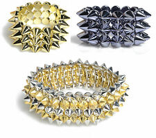 NEW WOMENS AZTEC SPIKED LADIES ELASTICATED GOLD AND SILVER ARM BANGLE BRACELET