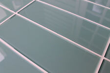 "Seaside Aqua Blue/Green 4"" x 12"" Glass Subway Tiles for Kitchen Backsplash/Bath"