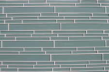 Seaside Aqua Linear Glass Mosaic Tiles for Kitchen Backsplash and Bathrooms