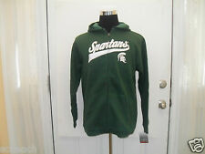 New Youth (All Sizes) MSU SPARTANS Cursive Logo Green Full Zip Hooded Sweatshirt
