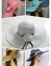 2014 Womens Ladies Wide Large Brim Summer Beach Sun Hat Straw Derby Cap