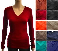 V-Neck Solid Color Pullover Knit  SWEATER TOP  Size Sz S, M, L
