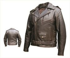 Men's Leather Motorcycle Jacket - Retro Brown Police Style - Side Laces - AL2023