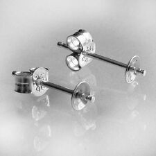 1 PAIR STERLING 925 SILVER EARRING STUDS CUP POST FRENCH FITTINGS WITH SCROLLS