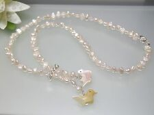 Vintage Japanese oval rice pearl Necklace w/ handcrafted birds drop silver clasp