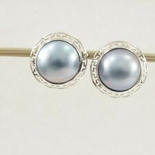 14k Yellow Solid Gold Omega Clip; Australia 14mm Blue Mabe Pearl Earrings