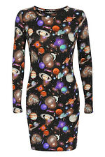 Zaniyah Galaxy Print Bodycon Dress in Multi Colour