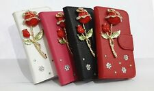 3D Rose Bling Diamond Flip Leather Card Wallet Case Cover for Nokia Cell Phones