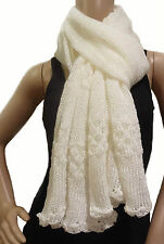 NEW-MADE IN THE USA Women's Long & Chunky Winter Scarf W/Crochet Scallop Edges