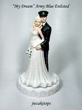Army Blue Enlisted Blond Bride Military Groom Wedding Caketop 49ABE1