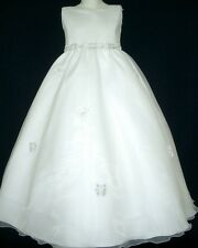 White Fower Girls Communion Confirmation Girl Dresses |Size 6 8 10 12 14|