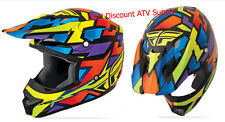 2014 Fly Racing Kinetic BLOCK OUT Helmet Wild YOUTH LARGE L MOTOCROSS MX BMX ATV