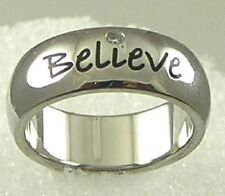 """Believe"" Ring Stainless Steel CZ Silver Inspirational 7mm Band  SZ 5-10"