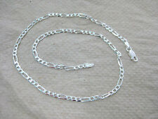"""MADE IN ITALY - 925 STERLING SILVER """"3mm FIGARO CHAIN"""" 35cm to 100cm - UNISEX"""