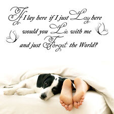 "Vinyl Wall LARGE ""IF I LAY HERE-SNOW PATROL-CHASING CARS""ART QUOTE STICKER HOME"