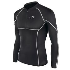 New 007 Skin Tight Compression Base Layer Black Running Zip Shirt Mens S-2XL