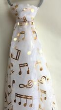 BEAUTIFUL MUSIC NOTES SCARF WITH GOLD COLOURED FOIL PRINT