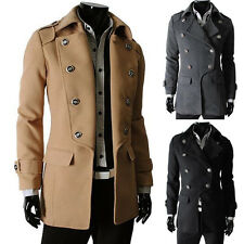 Charming Men's Stylish Slim Fit Long Warm Jackets outerwear Trench Coats In XS~M