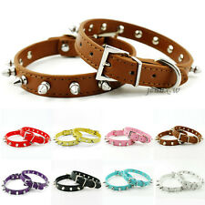 Soft Spiked Studded Rivets PU Leather Puppy Cat Dog Collars for Small Breeds