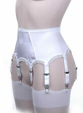 Retro Style 8 Strap Suspender Belts in Black or White.  Sizes 10 - 16