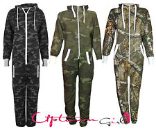 NEW GREEN WOMENS MENS CAMOFLAGUE CAMO ALL IN ONE PIECE HOODED JUMPSUIT ONESIE